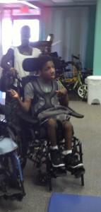 Chance in new wheelchair