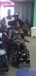 Chance in new wheelchair