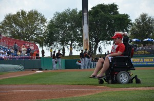 John Woodson making first pitch Photo by Paul Lepinskie courtesy of Hometown News