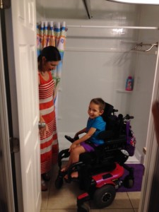 Brooklynn and mom Shawn in bathroom